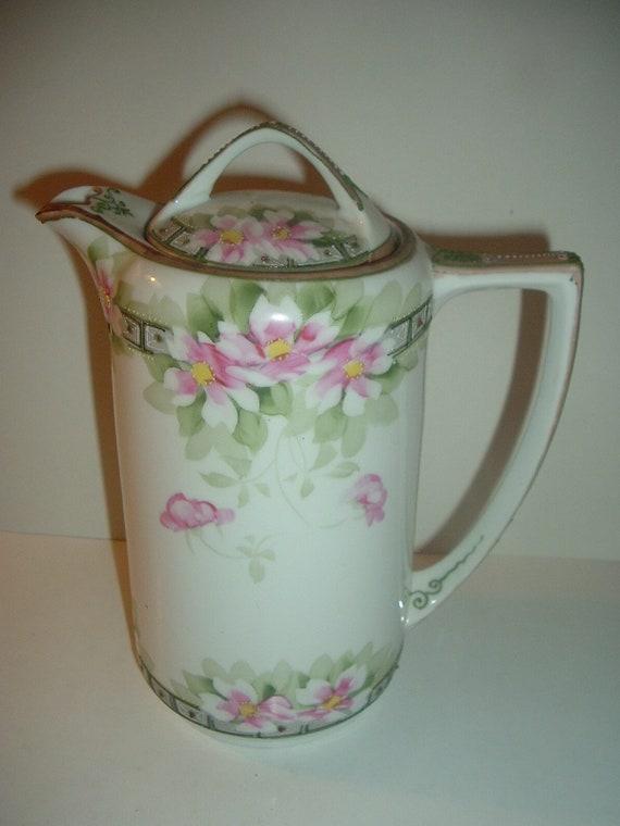 Nippon Handpainted Coffee Teapot Maple Leaf mark