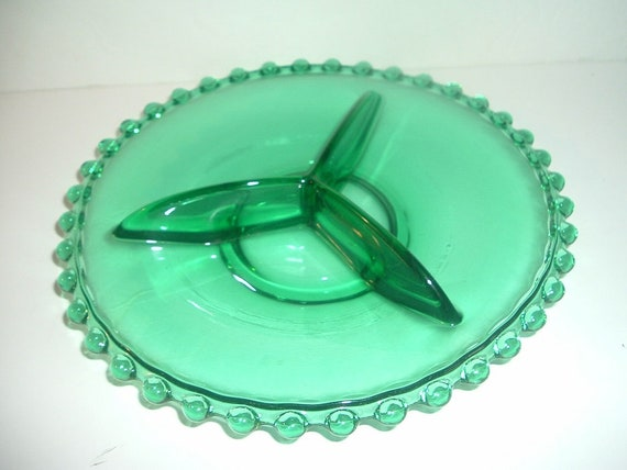 Bohemian Glass Teal Green Candlewick Pattern 3 Part Relish