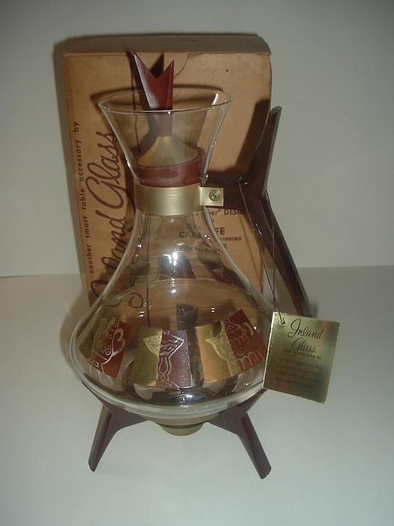 Inland Glass Mid Century Coffee Pot Carafe Server in Original Box