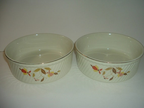 2 Hall Jewel Tea Autumn Leaf French Baker Bowls