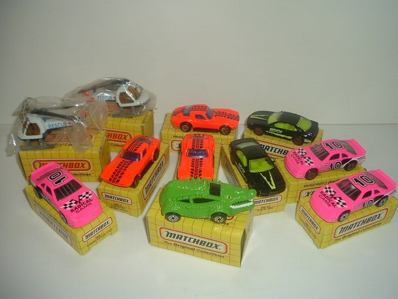 11 Matchbox Cars Corvette T-Bird BMW Tail Gator Rescue Helicopter w Boxes