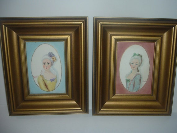 2 Handpainted Lady Portrait Tiles Framed