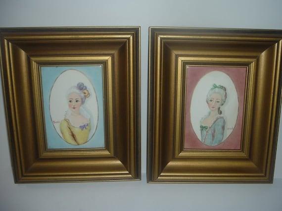 2 Handpainted Lady Portrait Tiles Framed