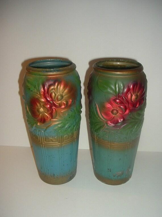 2 Pickle Jar Vases Antique Painted Glass