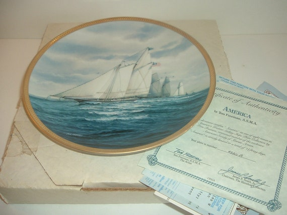 America Plate Americas Sailing Ships w/ Box and COA 1988 Hamilton collection