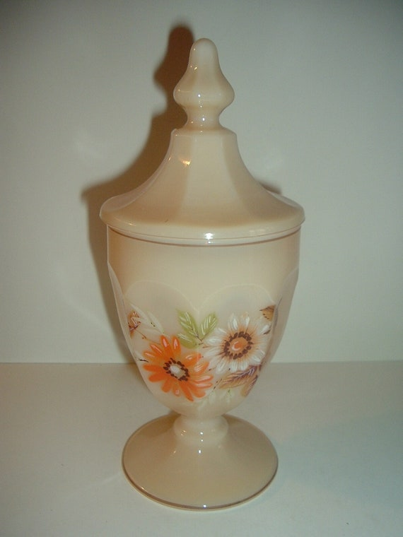 Westmoreland Almond with Daisy Decal Lidded Compote