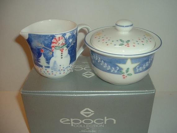 Noritake Epoch Mr Snowman Creamer and Sugar Set in Box