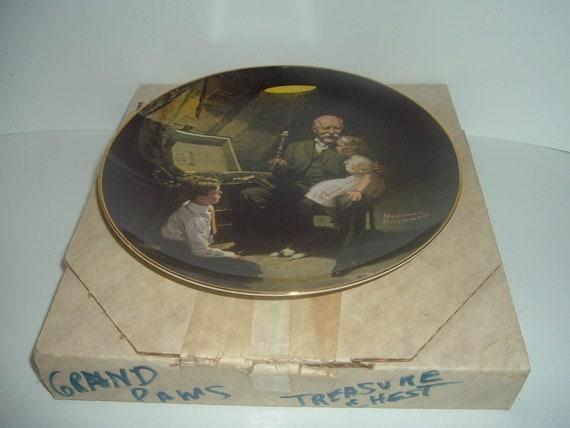 Edwin Knowles Norman Rockwell Grandpa's Treasure Chest plate with box