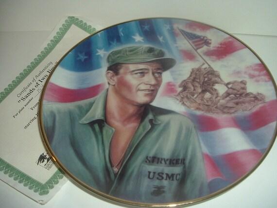 John Wayne Sands of Iwo Jima Plate Republic Pictures w COA 1992