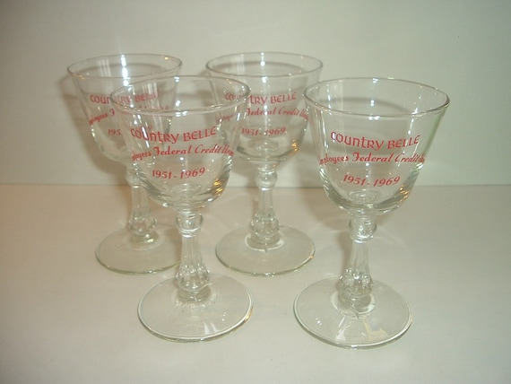 4 Country Belle Goblets 1969