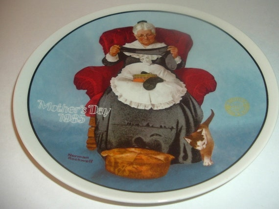 Norman Rockwell Mothers Day Mending Time Plate 1985