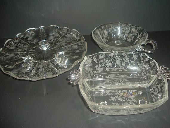 Fostoria Chintz Tidbit Nappy and Relish Dish 3 pieces