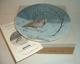 1970 Haviland Limoges First Issue Partridge In A Pear Tree Plate in Box