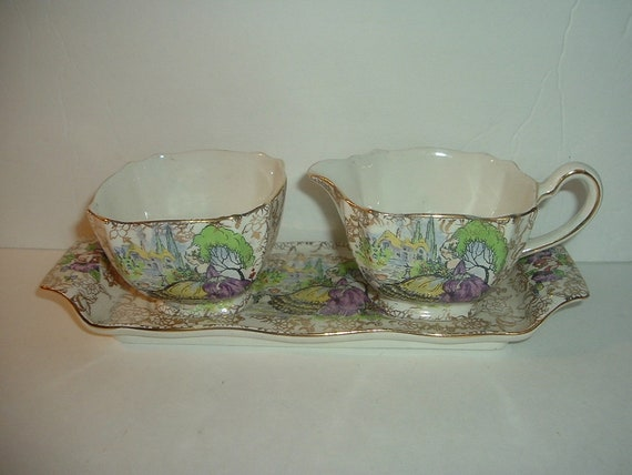 Lord Nelson Ware England Lady Pompadour Cream Sugar Tray 3 piece set