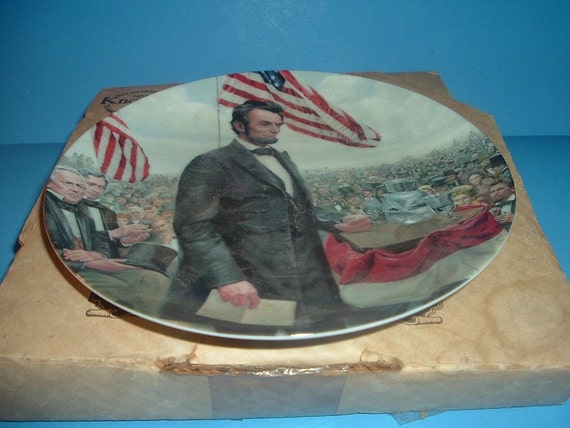 1986 Knowles Lincoln Man of America Gettysburg Plate w/ Box