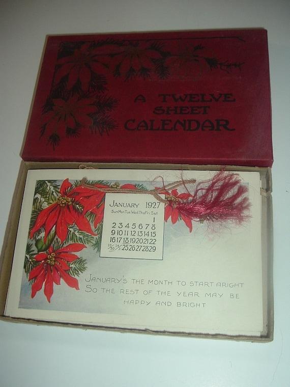 12 Sheet Calendar Postcard Like in Original Box 1927