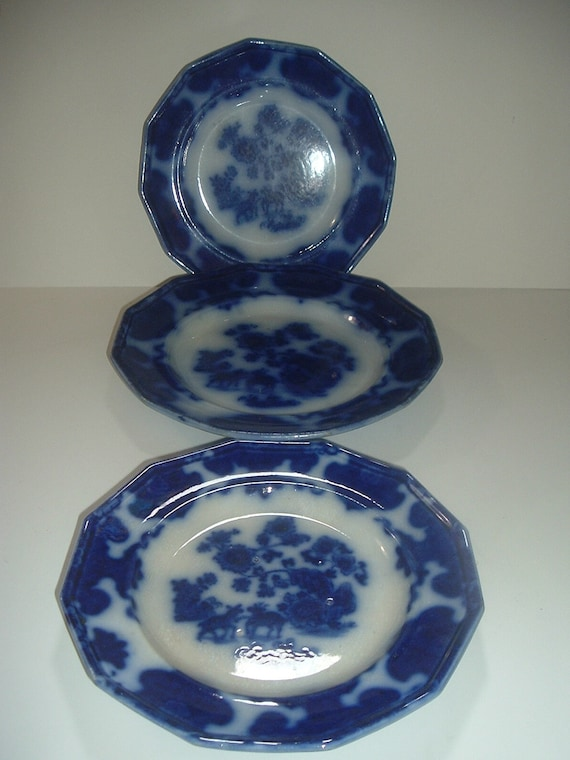 "3 Flow Blue F Morley Cashmere Plates 9.5"" & 8 3/8"" Antique"