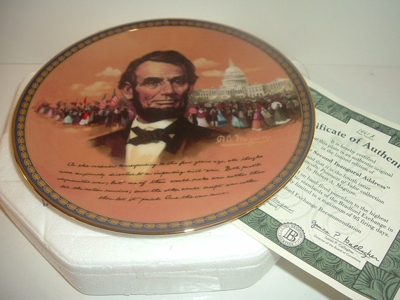 President Abraham Lincoln Portraits of Valor Second Inaugural Address Plate w Box and COA