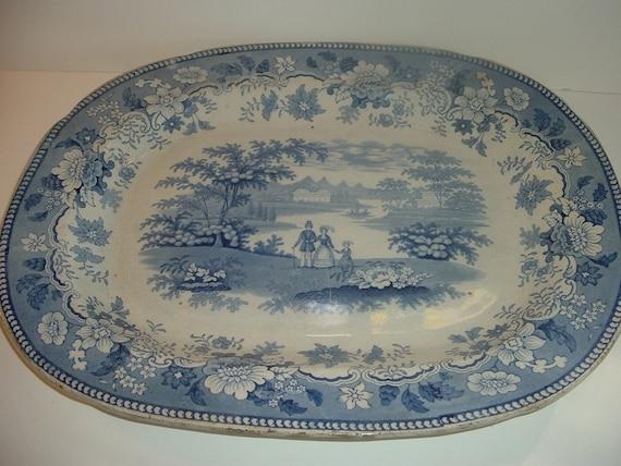 "Blue Transferware China Platter 18"" Antique"