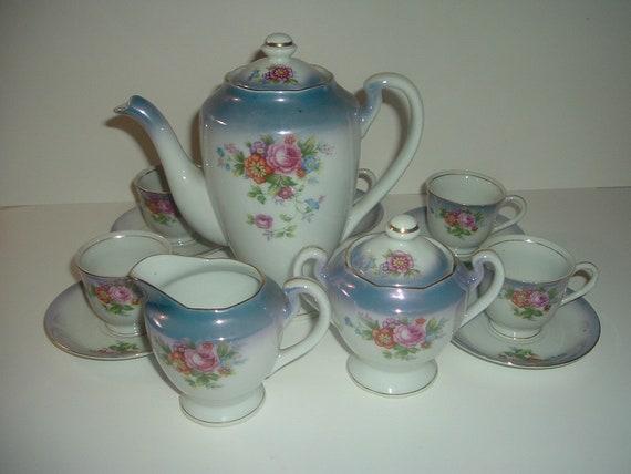Occupied Japan Teaset Demi Teapot Cream Sugar 5 Cups Saucers Vintage