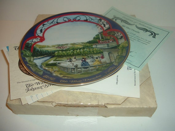 Blue Danube Waltzes Johann Strauss Plate w/ Box and COA