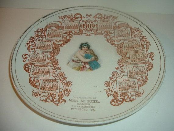 Antique Advertising Plate Mrs M Peel Grocer Pittsburg (h) 1909 Calendar