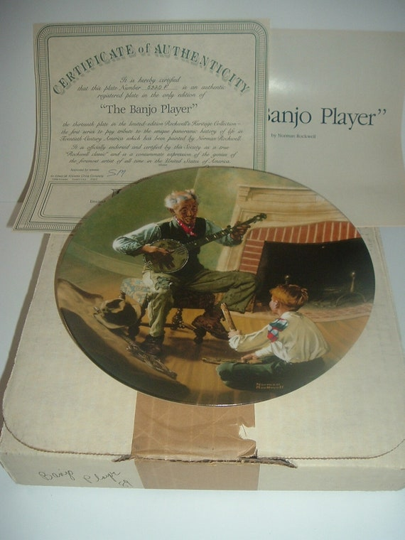 Norman Rockwell Banjo Player Plate Heritage Collection 1989 w/ Box & COA