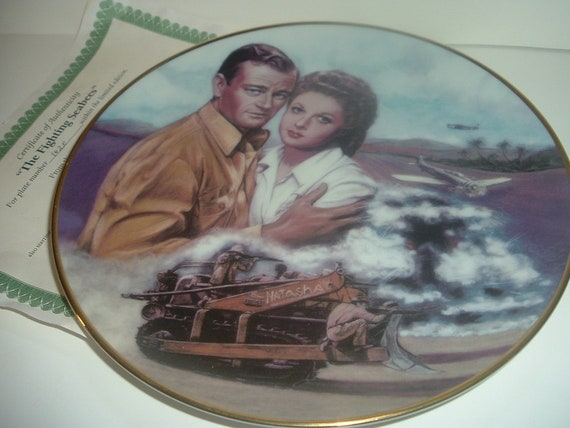 John Wayne The Fighting Seabees Plate Republic Pictures w COA 1992