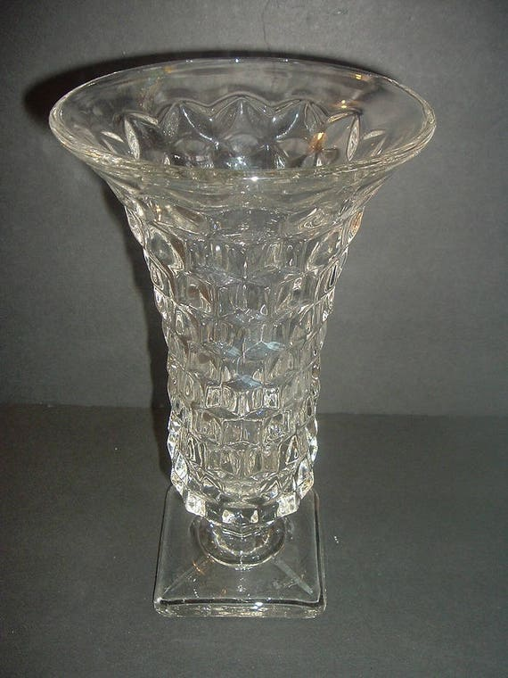Fostoria American 9 and one half inch Tall Footed Flared Top Vase