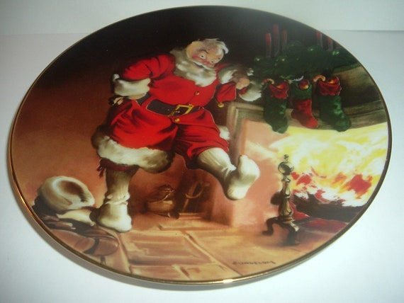 Edwin Knowles Santa By The Fire Haddon Sundblom plate first issue 1989