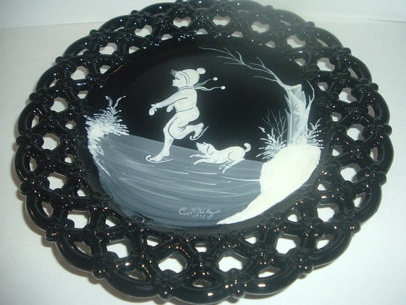 Westmoreland Glass Black with Mary Gregory Boy Ice Skating with Dog Artist Signed Plate