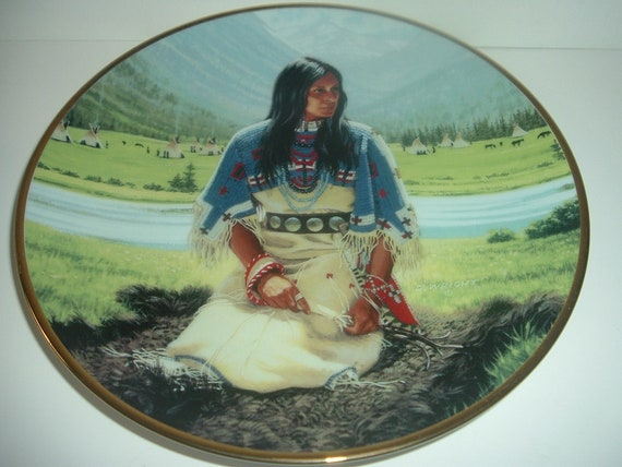 Falling Star Noble American Indian Women Plate 1991
