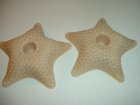 Westmoreland Glass Starfish Candleholders Almond Pair