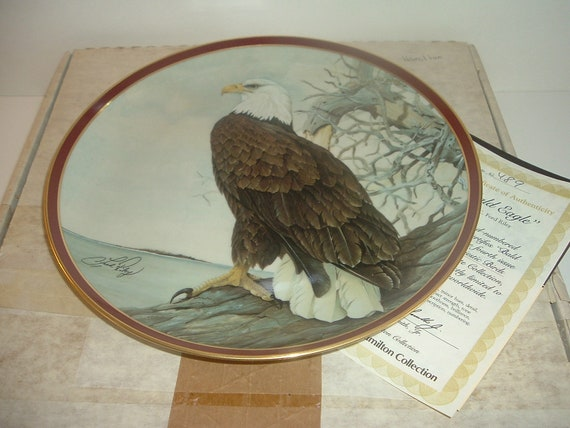 Bald Eagle Majestic Birds of Prey Plate w/ Box and COA 1983 Hamilton collection