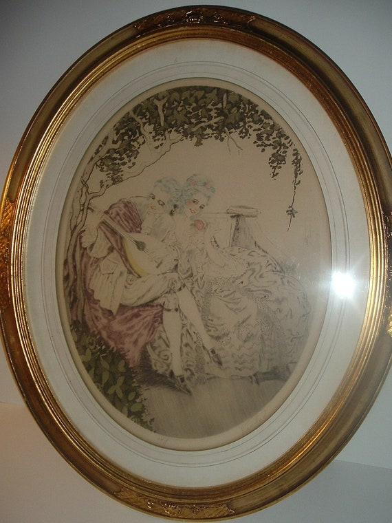 Courting Couple Framed Oval Print Vintage