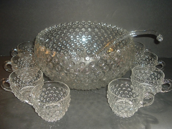 Duncan and Miller Hobnail Punch Bowl Ladle and 8 Cups