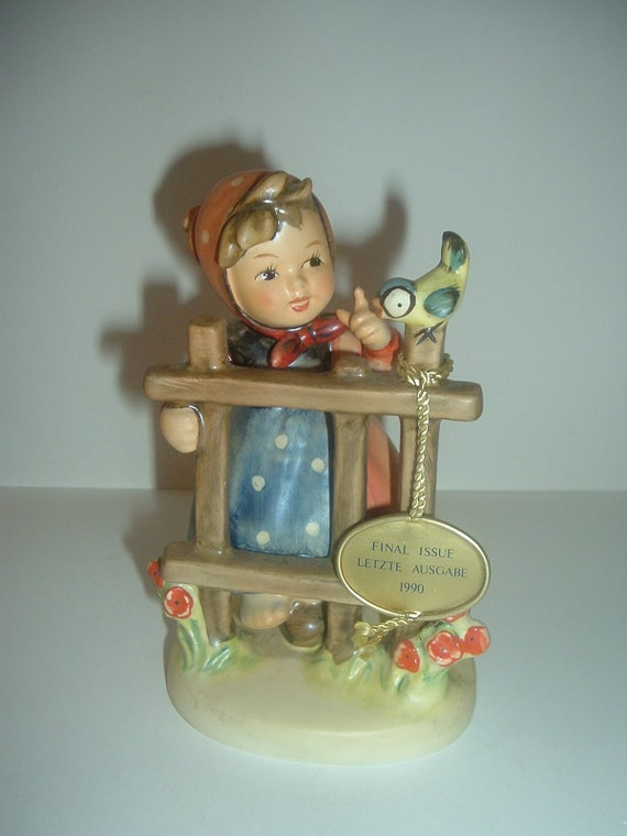 Hummel HUM 203 Signs of Spring girl bird fence Figurine Final Issue