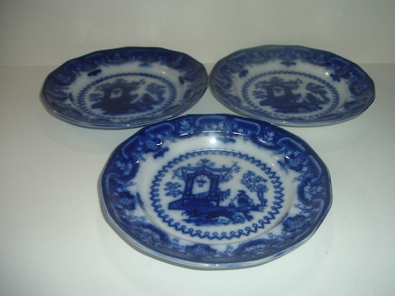 "3 Flow Blue TJ & J Mayer Longport Oregon Chinese Porcelain 7 5/8"" Plates Antique"