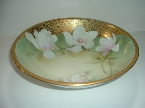 RS Germany Tillowitz Bowl with White Flowers & Gold