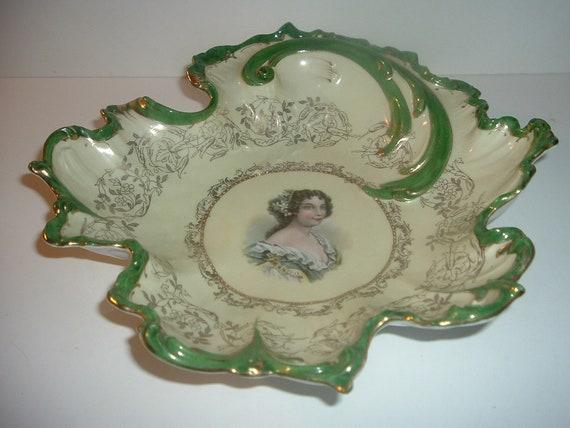 Lady Portrait Porcelain Bowl Vintage