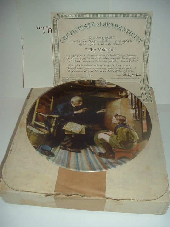 Norman Rockwell The Veteran Plate Heritage Collection 1987 w/ Box & COA