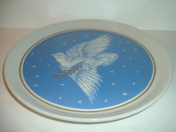 1979 Shenango China Anchor Hocking Ohio Nut & Washing Co Bird of Prosperity Plate