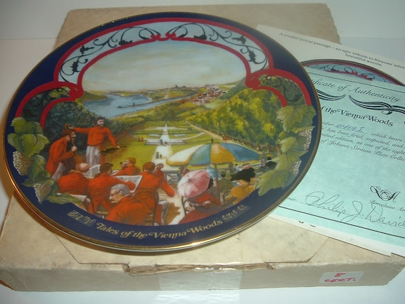 Tales of the Vienna Woods Waltzes Johann Strauss Plate w/ Box and COA