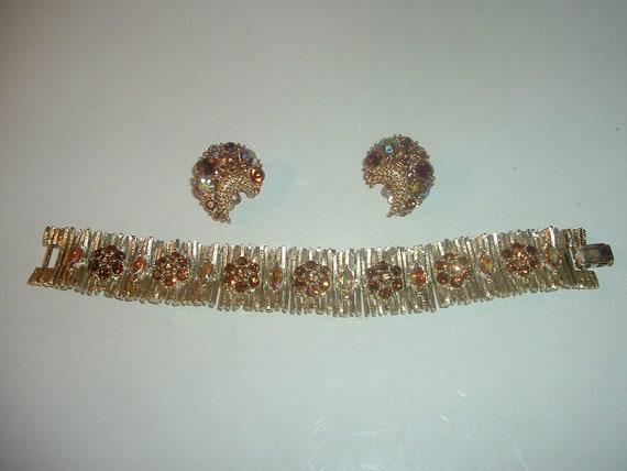 Lisner Earrings and Bracelet Vintage Signed Free US Shipping