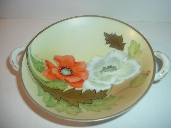 Petite Handpainted Bavaria Artist signed Poppies Compote or Mint Dish