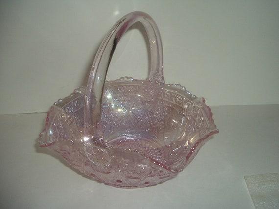 L. E. Smith Glass Pink Carnival Glass Basket