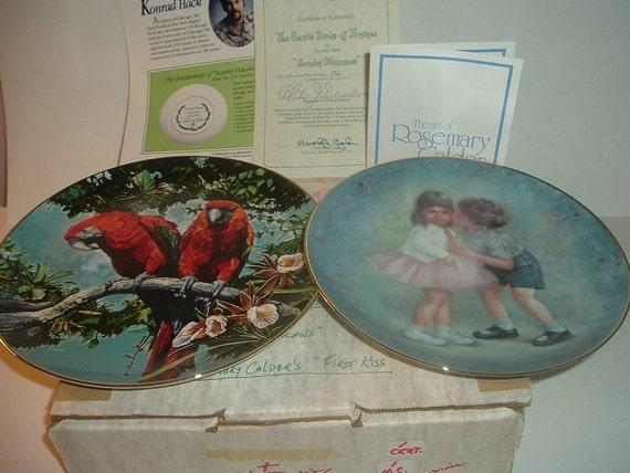 1981 Royal Cornwall #1 Scarlet Macaws Exotic Birds of Tropique Plate w/ COA + Bonus First Kiss Plate
