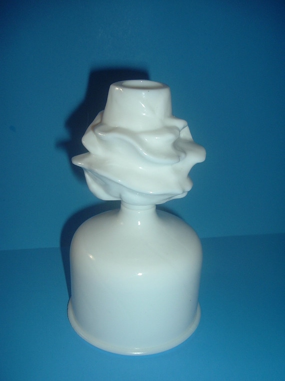 Westmoreland Glass Rose and Lattice Trellis Candleholder still on Mold