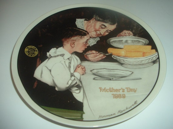 Norman Rockwell Sunday Dinner Mothers Day Plate 1989 Vintage