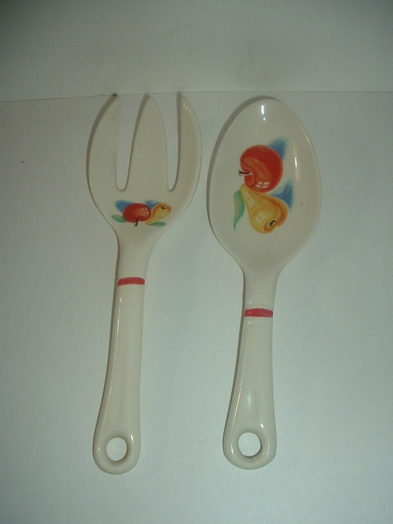 Harker Fruit Pattern Serving Spoon and Fork Pear Apple